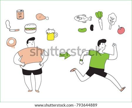 Concept Bad health concept bad habits fatty healthy stock vector 793644889