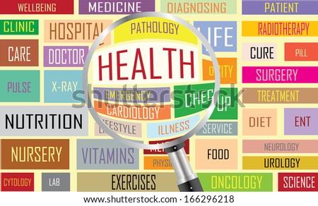 Health concept labels vector artwork  - stock vector