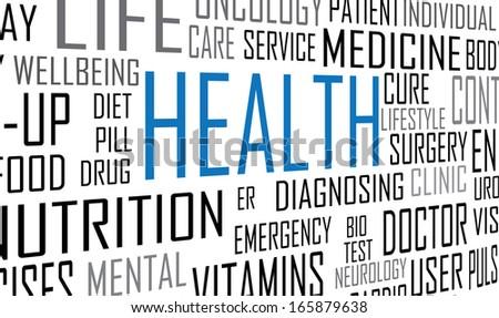 Health concept tag cloud vector artwork  - stock vector