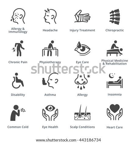 Health Conditions & Diseases - Black Series - stock vector