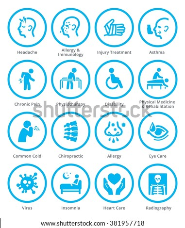 Health Conditions & Diseases Icons - Blue Circles  - stock vector