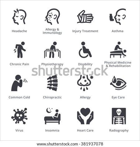 Health Conditions & Diseases Icons - Sympa Series | Black  - stock vector