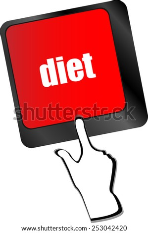 Health diet button on computer pc keyboard - stock vector