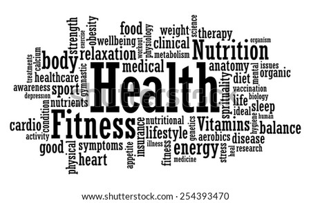 Health, fitness, awareness word cloud vector illustration - stock vector