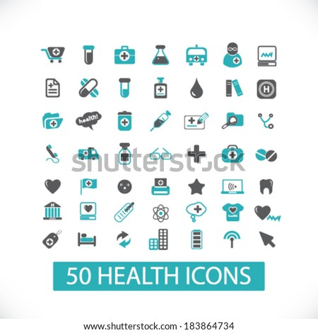health flat icons set  for digital web, print, design, mobile phone apps, vector - stock vector
