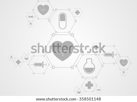 Health grey tech background and medical icons. Vector science design - stock vector