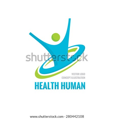 Health human character - vector logo template. Sport fitness concept illustration. Creative sign. Happiness freedom icon. Design element.  - stock vector