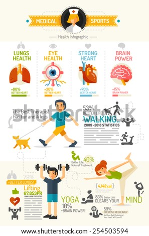 Health Infographic chart flat design style - stock vector