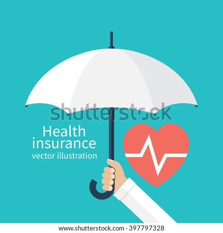 Health insurance concept. Protection health. Care medical. Healthcare concept. Doctor holding an umbrella, protecting the heart. Vector illustration flat design style. - stock vector