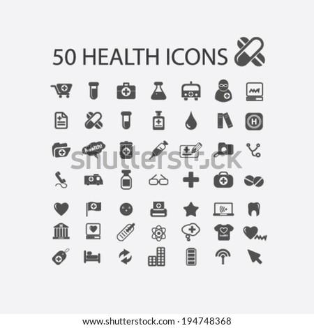 health, medicine, hospital, doctor, pharmacy icons set, vector - stock vector