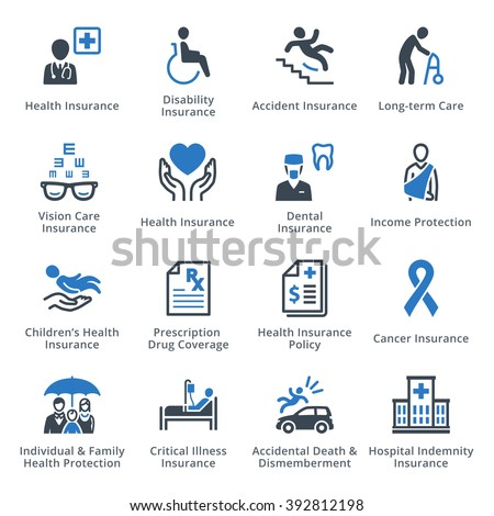 Health Protection Icons - Blue Series - stock vector