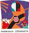Health-related illustration; mental illness, heart attacks - stock vector