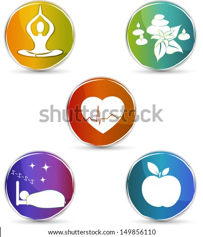 Health symbols. Healthy heart, healthy food, good sleep, yoga, spa therapy. Colorful design. Isolated on a white background. - stock vector