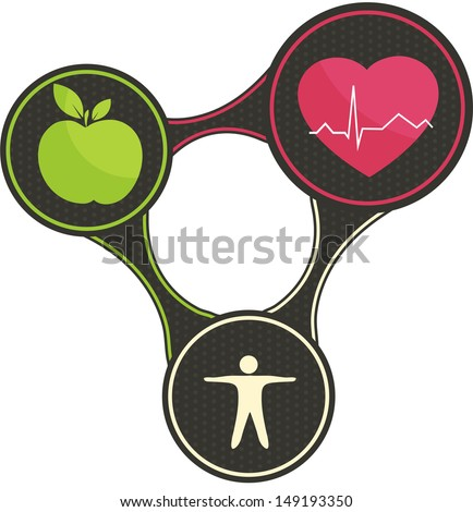 Health triangle.  Healthy heart, healthy food and fitness.  All connected and leads to healthy life. Isolated on a white background. - stock vector