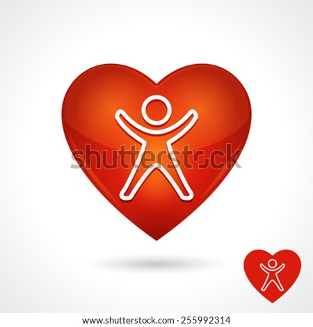 Health Vector Symbol With Heart Icon And Person - stock vector