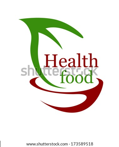 Health vegetarian food icon with a stylized bowl and green leaf with the text - Health Food - in green and brown symbolizing bio or organic food logo for a healthy diet - stock vector