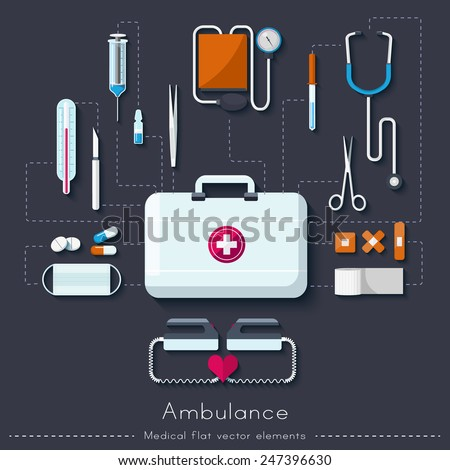 Healthcare and medical concept. Ambulance set in flat style. Vector illustration  - stock vector