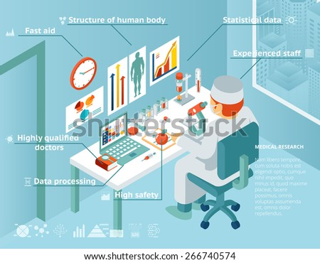 Healthcare and medical infographics. Doctor sits in the laboratory and research. Vector illustration - stock vector