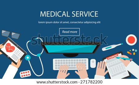 Healthcare background. Web banner with top view of  doctors desktop with medical tools,  stethoscope, computer, tablet, vector illustration - stock vector