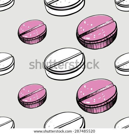 Healthcare background with aspirin and pastil. Hand drawing vector seamless texture with pharmaceutical objects isolated on white background. Chess grid order - stock vector