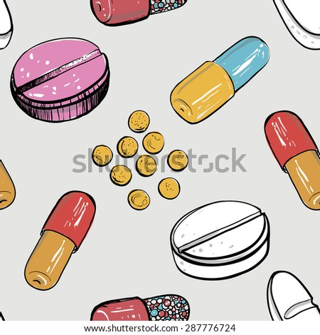 Healthcare background with dragee, pellet, pill, caplet, capsule, aspirin, pastil. Hand drawing vector seamless texture with pharmaceutical objects isolated on white background. Chess grid order - stock vector
