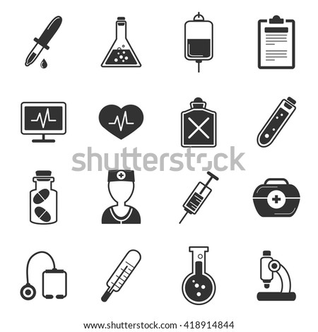 Healthcare black white icons set with microscoper flasks avatar of doctor tube stethoscope syringe isolated vector illustration  - stock vector