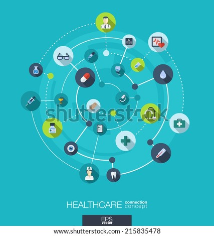 Healthcare connection concept. Abstract background with integrated circles and icons for medical, health, care, medicine, network and global concepts. Vector infographic illustration. Flat design - stock vector
