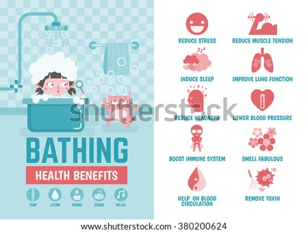 healthcare infographic about bathing health benefits - stock vector