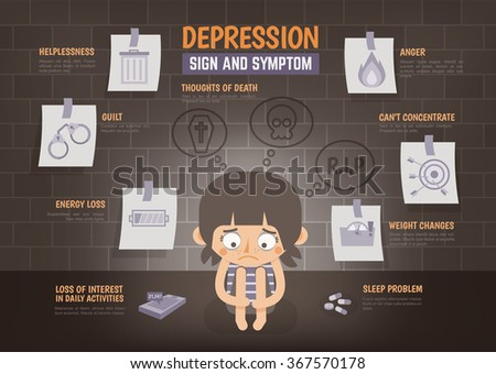 healthcare infographic about depression sign and symptom - stock vector