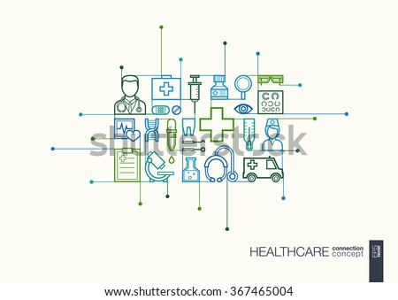 Healthcare integrated thin line symbols. Modern linear style vector concept, with connected flat design icons. Abstract illustration for medical, health, care, medicine, network and global concepts.  - stock vector