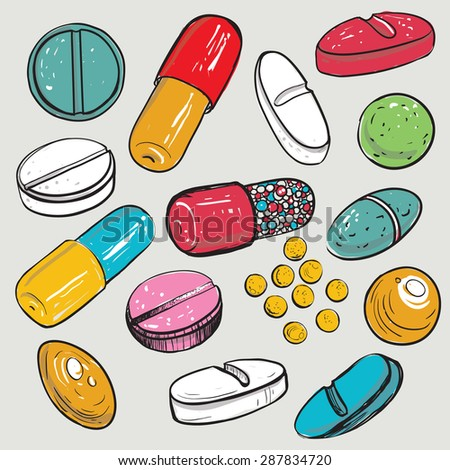 Healthcare items collection with dragee, pilule, pill, caplet, capsule, tablet, aspirin. Hand drawing vector elements and pharmaceutical objects isolated on white background - stock vector