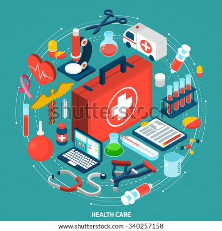 Healthcare management for international medical organizations concept model isometric round pictograms composition icon poster abstract vector illustration - stock vector
