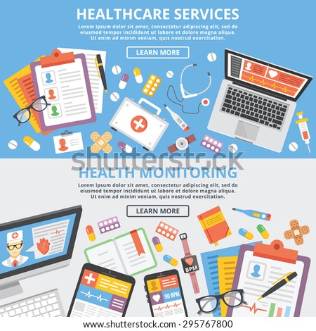 Healthcare services, health monitoring, research flat illustration concepts set. Modern flat design concepts for web banners, web sites, printed materials, infographics. Creative vector illustration - stock vector