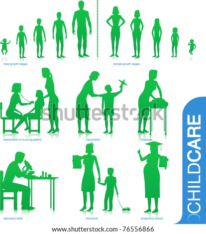 healthcare silhouettes growth child doctor mother patient pregnant lab exam medical baby infant - stock vector