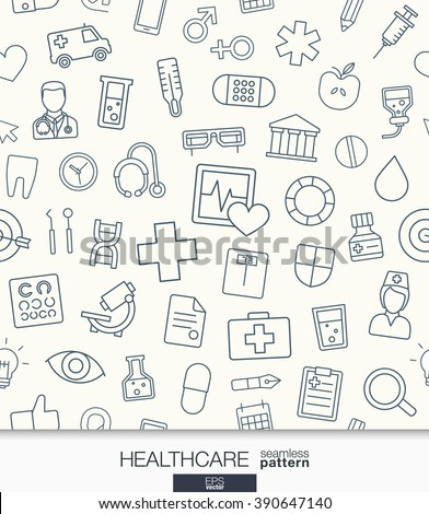 Healthcare wallpaper. Medical seamless pattern. Tiling textures with thin line web icons set. Vector illustration. Abstract health care and medicine background for mobile app, website, presentation.