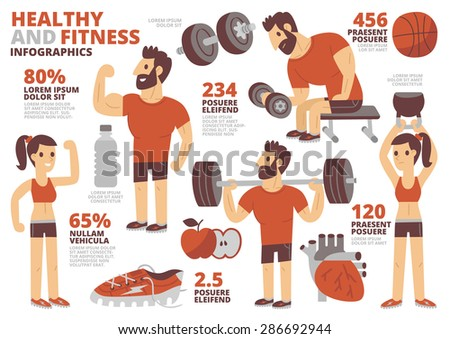 Healthy and Fitness Infographics - stock vector