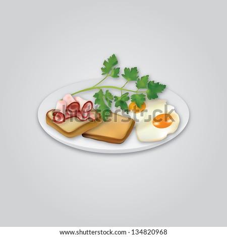 healthy breakfast - stock vector