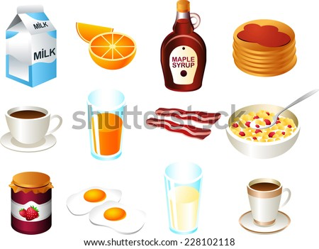 Healthy breakfast food icon set - stock vector