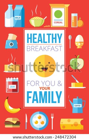 Healthy breakfast for you and your family illustration vector graphic poster. - stock vector