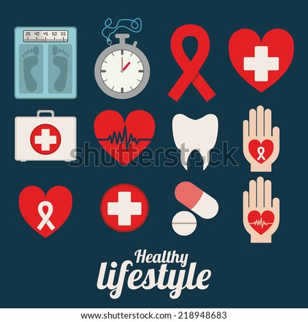 Healthy design over blue background, vector illustration