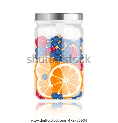 Healthy detox water in jar with orange, blueberry and raspberry