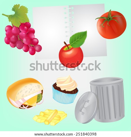 Healthy Diet for diary and Unhealthy Food for Dustbin. Concept illustration EPS10 - stock vector