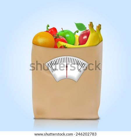 Healthy diet. Fresh food in a paper bag
