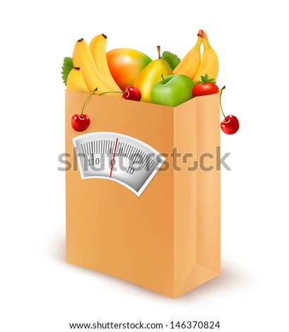 Healthy diet. Fresh food in a paper bag. Vector illustration.  - stock vector