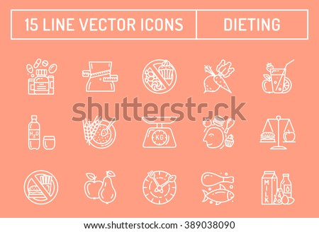 Healthy diet icons, rational nutrition icons, slimming loss weight, healthy lifestyle, balanced diet eating, organic food, vegetarian food, protein diet, healthy diet concept - stock vector