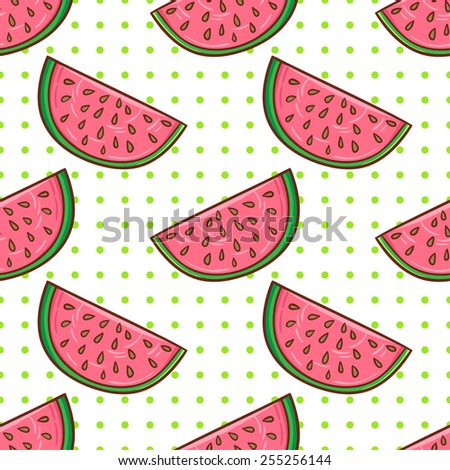 Healthy diet seamless pattern. Watermelon fruit endless textured background. - stock vector