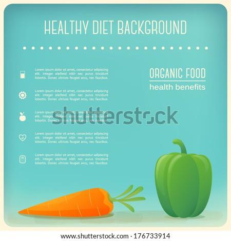 Healthy Diet Vegetables Background. Organic Food  - stock vector