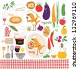 healthy eating, food illustrations collection - stock vector