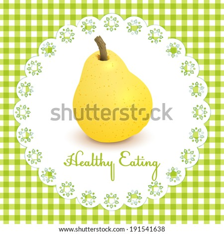 Healthy eating illustration with one pear on vichy fabric background - stock vector