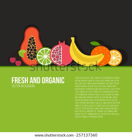 Healthy eating vector concept with flat fruits, vegetables and copyspace. Diet and organic food template. Great for healthy magazines, cooking web sites and restaurant newsletters.